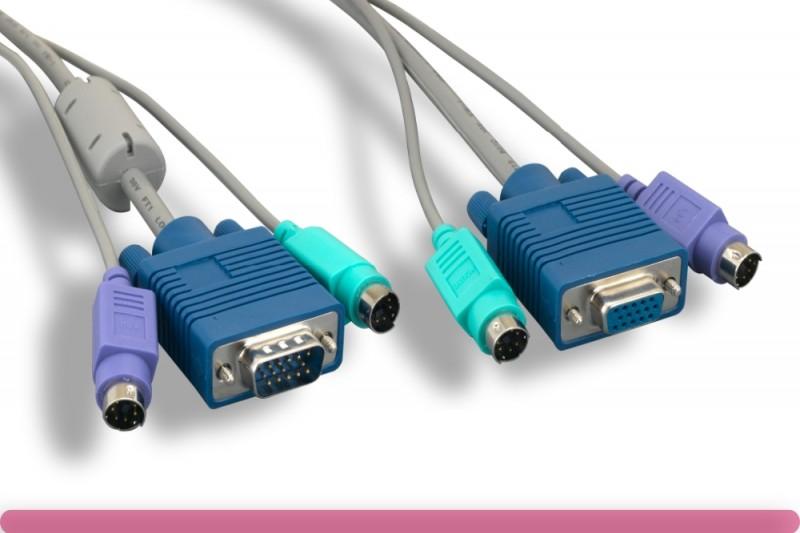 Premium Gray Color PS/2 3 in 1 KVM Cable
