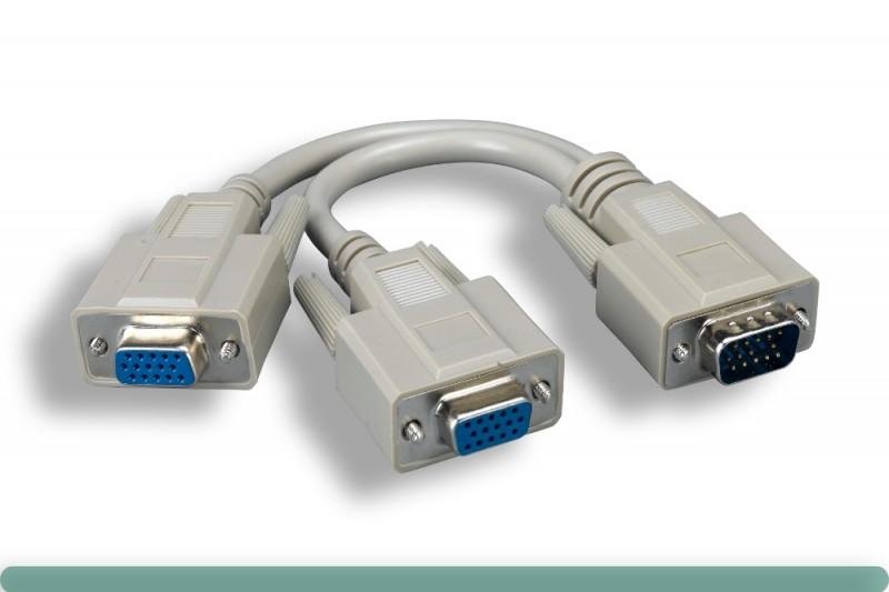 "Standard VGA ""Y"" Splitter Cable Adaptor"