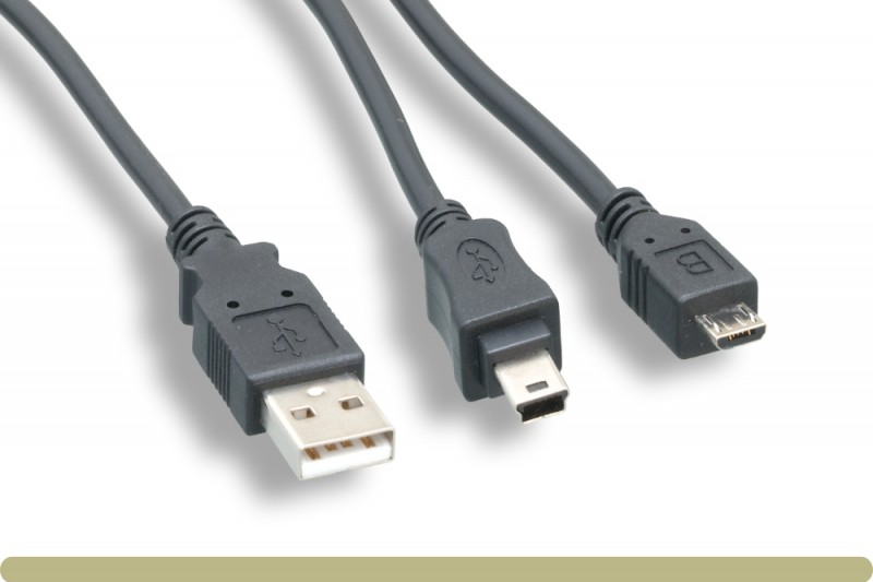 USB2.0 AM / Mini B Male+Micro B Male Splitter Cable
