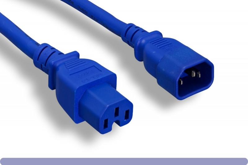 14 AWG Blue Color C15 / C14 Power Cord