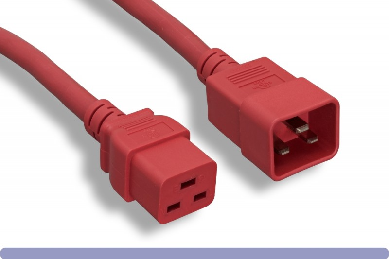 12 AWG Red Color C20 to C19 Universal Jumper Power Cord