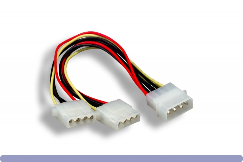 "5.25"" Male / 5.25"" Female x 2 Internal DC Power Y Cable"