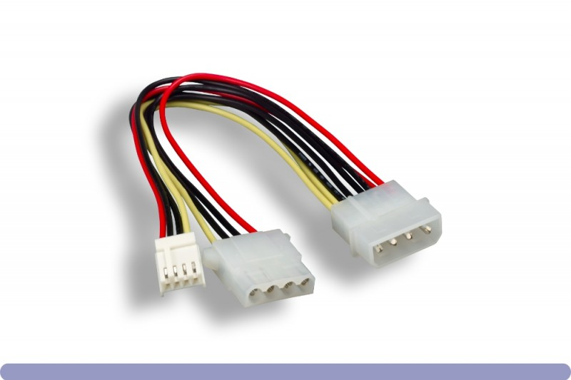 """5.25"""" Male / 3.5"""" Female + 5.25"""" Female Internal DC Power Cable"""