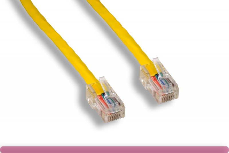 Yellow Color Non-Booted Cat 5e UTP Patch Cable