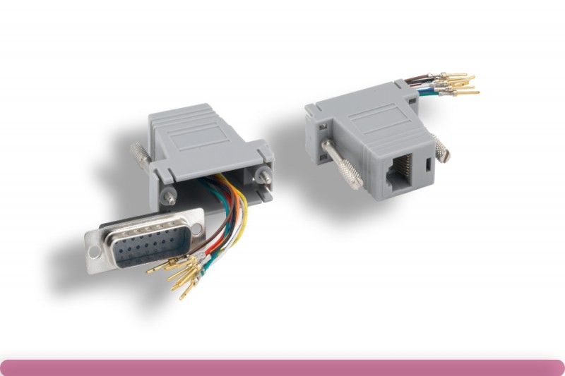 GRAY Color DB15 Male to RJ-45 Modular Adaptor