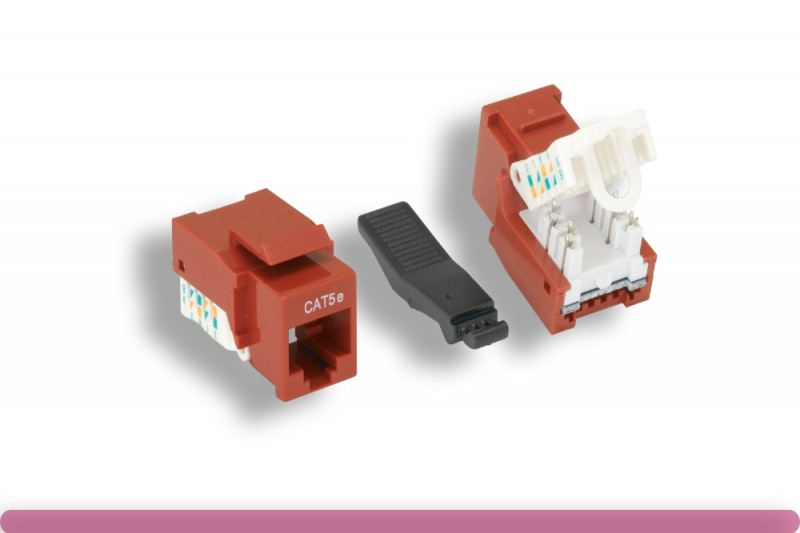Red Color Cat. 5e Tool-less Keystone Jack