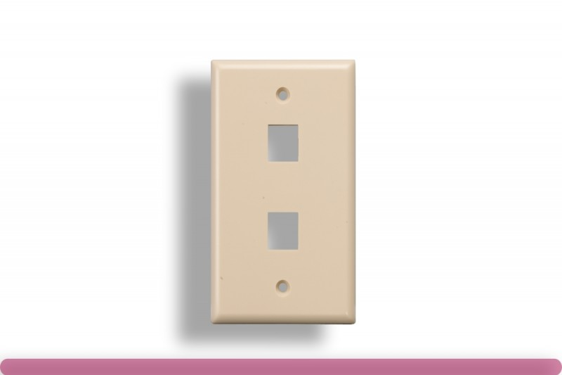2-Port Wall Plate for Keystone Insert Ivory Color