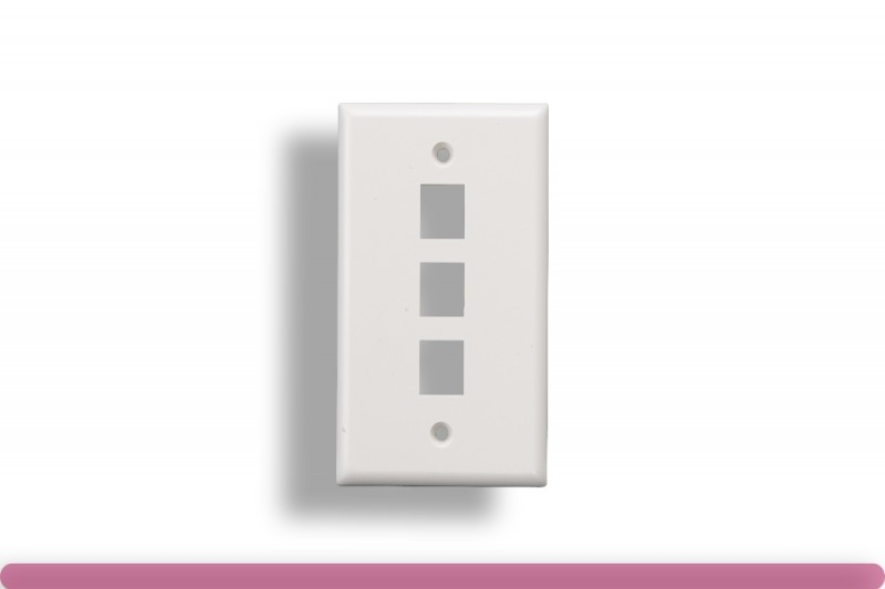 3-Port Wall Plate for Keystone Insert White Color
