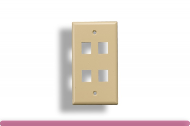 4-Port Wall Plate for Keystone Insert Ivory Color