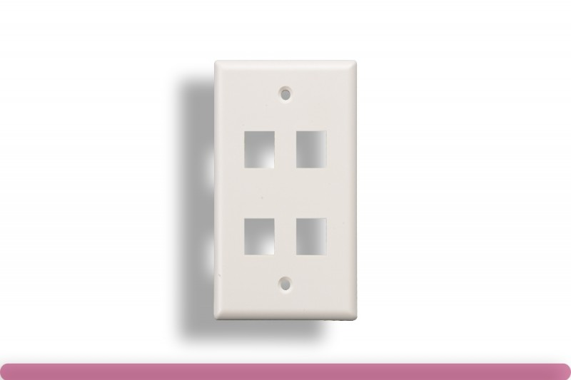 4-Port Wall Plate for Keystone Insert White Color
