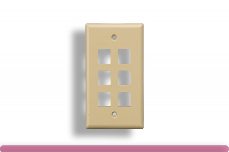 6-Port Wall Plate for Keystone Insert Ivory Color