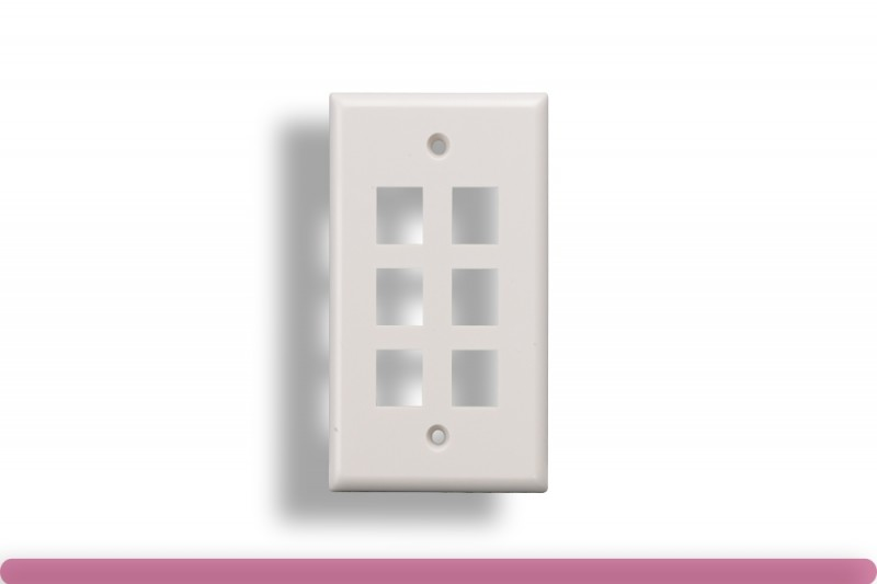 6-Port Wall Plate for Keystone Insert White Color
