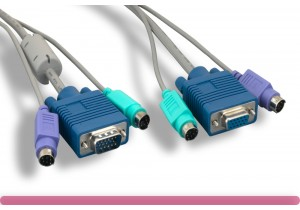 Premium Gray Color PS/2 3 in 1 KVM Cable