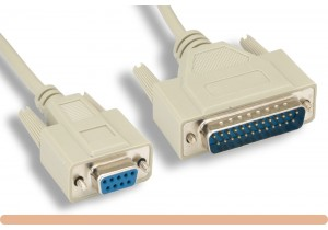 DB9 F / DB25 M Null Modem Cable
