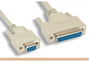 DB9 F / DB25 F Null Modem Cable