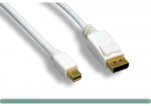 White Mini DisplayPort to DisplayPort Cable