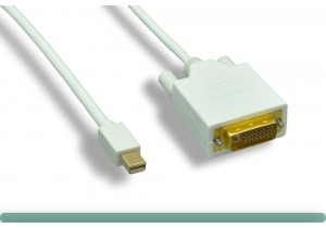 White Mini DisplayPort to DVI Cable