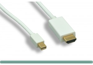 White Mini DisplayPort to HDMI Cable