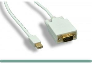 White Mini DisplayPort to VGA Cable