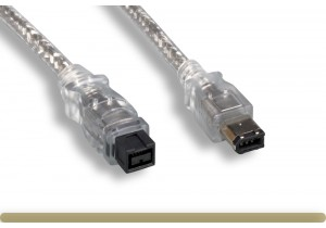 IEEE-1394b 9P to 6P Cable, Clear Color