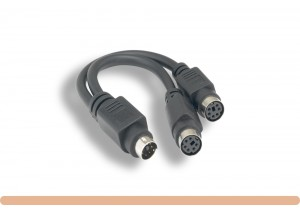 MDIN6 M to Fx2 PS/2 Y Splitter Cable