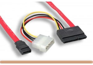 "18"" SATA 7 Pin+15 Pin to SATA 4 Pin Power Cable"