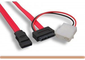"12"" Slimline SATA 13 Pin to SATA 7 Pin + 4 Pin Power Cable"