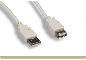USB 2.0 Type A / A Extension Cable Beige Color