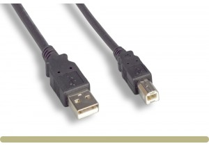 USB 2.0 A Male / B Male Cable Black Color