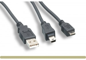 USB2.0 AM / Mini B Male+Micro B Male Splitter Cable