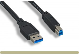 USB 3.0 A Male / B Male Cable Black Color