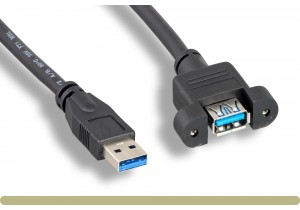 USB 3.0 Type A Panel Mount Extension Cable Black Color