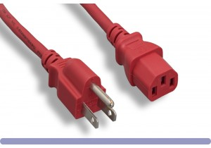 18 AWG Red Standard Power Cord NEMA 5-15P to C13