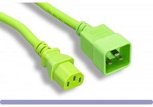 Green Color C13 / C20 Universal Jumper Power Cord