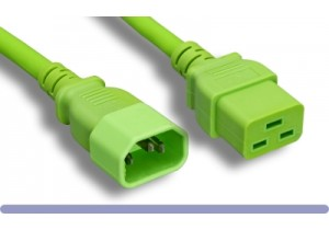14 AWG Green Color C14 / C19 Power Cord