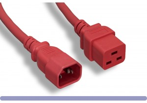 14 AWG Red Color C14 / C19 Power Cord