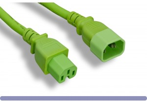 14 AWG Green Color C15 / C14 Power Cord