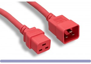 12 AWG. Red Color C19 / C20 Universal Jumper Power Cord