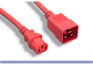 Red Color C13 / C20 Universal Jumper Power Cord