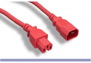 14 AWG Red Color C15 / C14 Power Cord