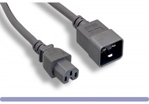 14 AWG. Black Color C15 / C20 Power Cord