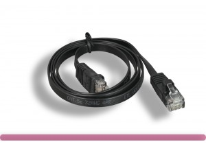 BLACK Color Flat Cat 5e Patch Cable