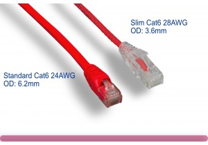 Red Slim Cat 6 UTP Patch Cable
