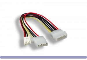"5.25"" Male / 3.5"" Female + 5.25"" Female Internal DC Power Y Cable"