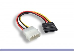 """SATA 15-Pin Female to 5.25"""" Male DC Power Cable"""