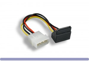 "SATA 15-Pin Right-Angle Female to 5.25"" Male DC Power Cable"