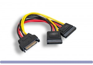 SATA 15-Pin Male / Sata 15-Pin Female x 2 DC Power Y Cable