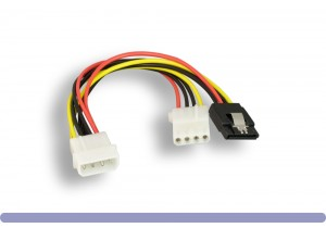 5.25 Male to 5.25 Female with SATA 15-Pin Female Power Y Cable