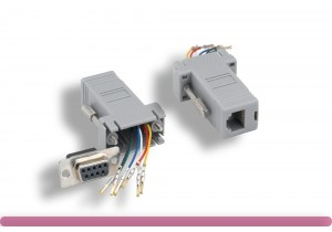 Gray Color DB9 Female to RJ-12 Modular Adapter