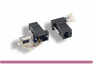 Black Color DB9 Female to RJ-45 Modular Adapter